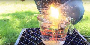 การทดลองไฟเย็นใส่ในน้ำ วิดิโอการทดลอง
