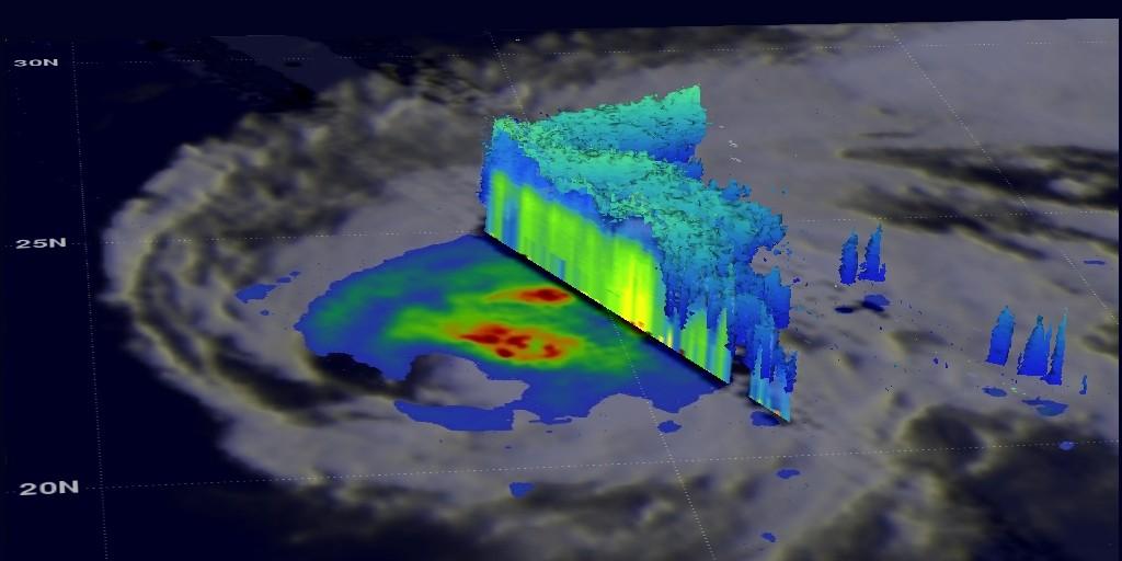 ภาพ 3 มิติบริเวณตอนเหนือของไต้ฝุ่น Dolphin ข่าวโลกและธรณีวิทยา พายุ
