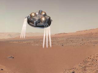 ภาพจำลองขณะยาน Schiaparelli กำลังลงจอดบนดาวอังคาร