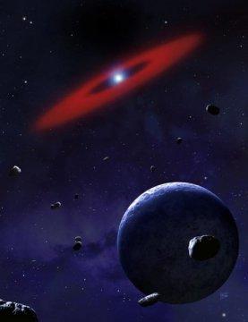 ดาวแคระห์ขาวที่มีฝุ่นและแก๊สโคจรอยู่ล้อมรอบ